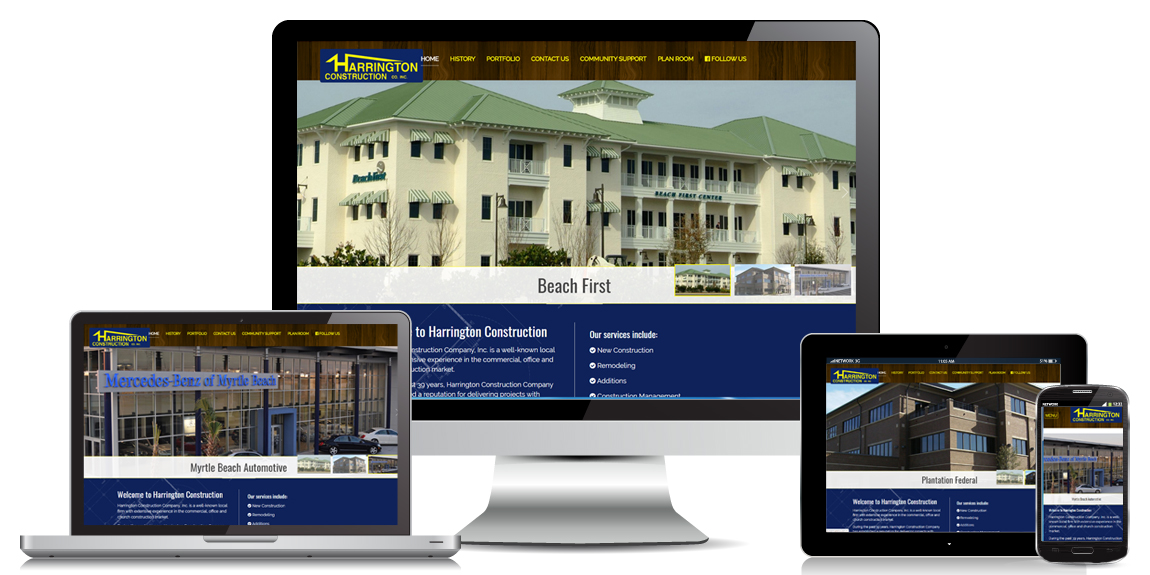 Contractor Website Design Harrington Construction