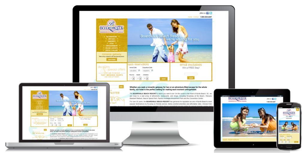 Hotel Website Design Boardwalk Resort