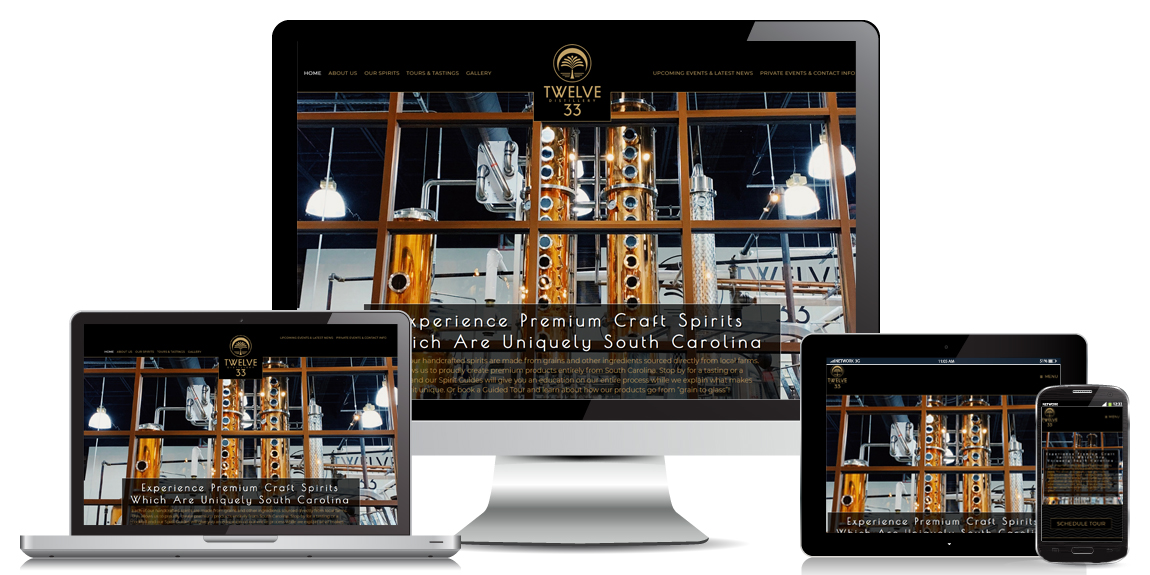 Restaurant Website Design - Twelve 33 Distillery