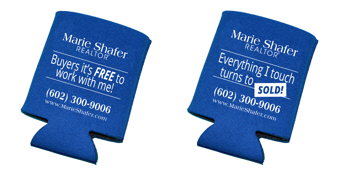Marie Shafer Real Estate Coozies designed by Marketing Provisions