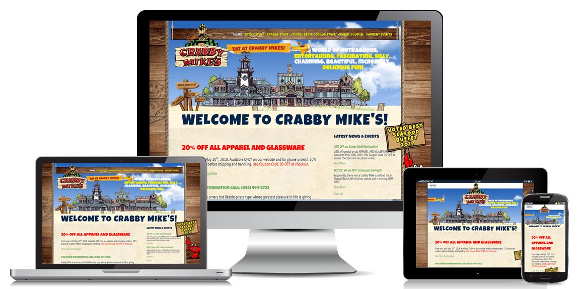 Restaurant Website Design - Crabby Mike's