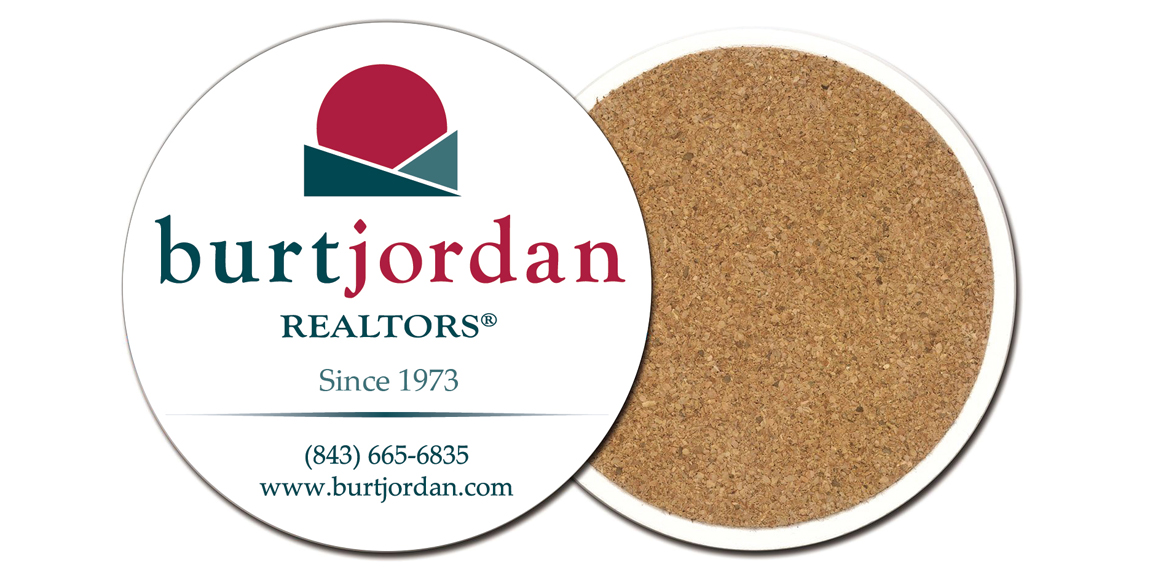 Burt Jordan Realtors Stone Coasters designed by Marketing Provisions