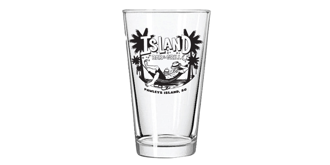 Glassware with Logo for Island Bar & Grill