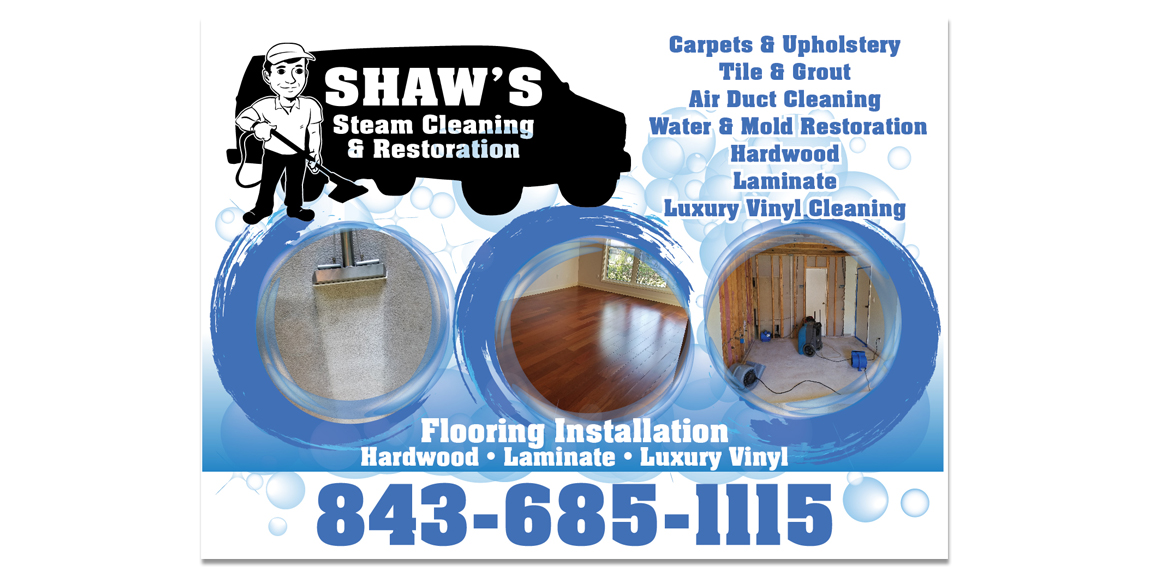 Postcards for Shaw's Cleaning Service