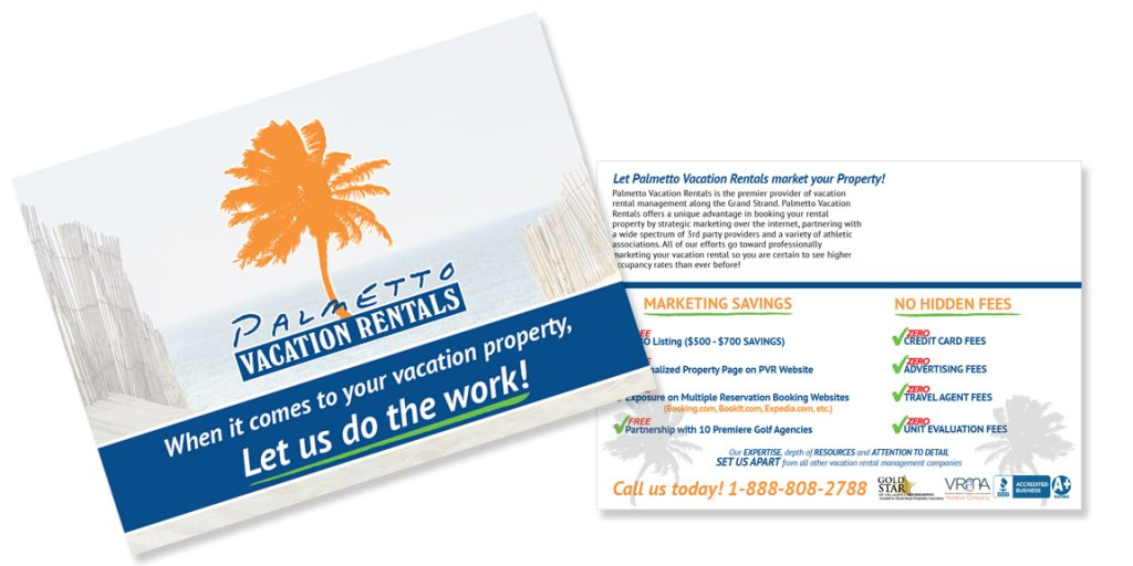 Postcards for Palmetto Vacation Rentals by Marketing Provisions
