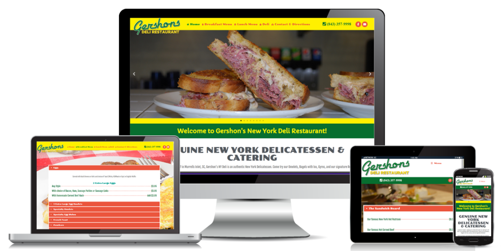 restaurant website design gershons deli