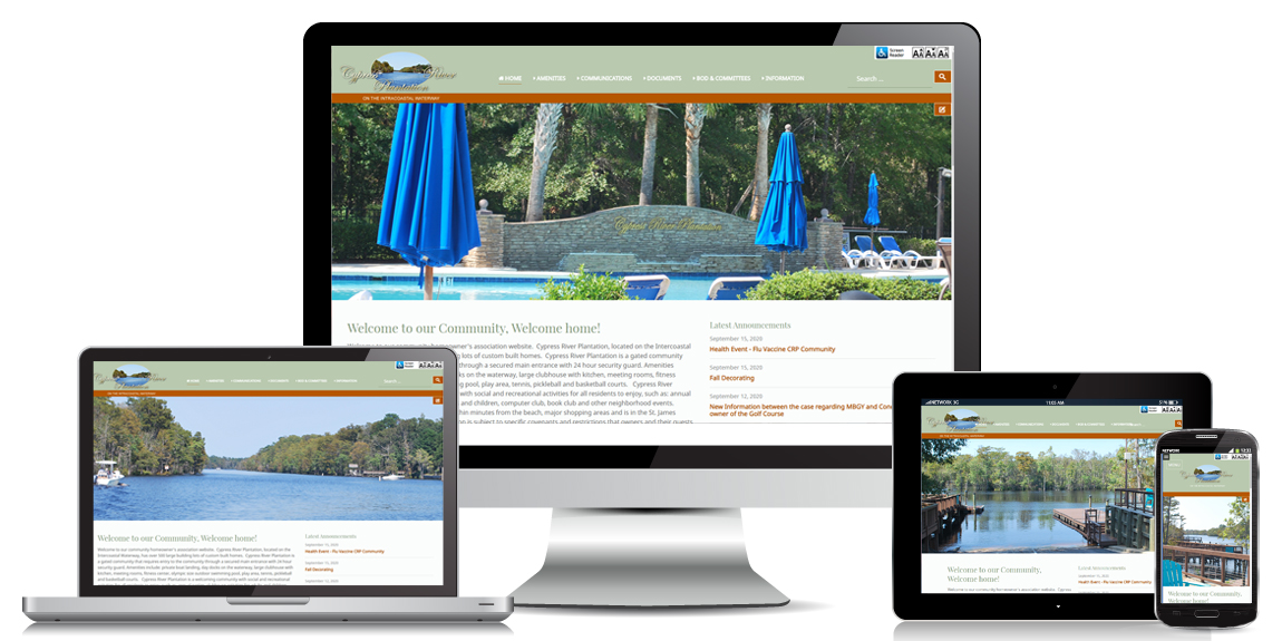 Cypress River Plantation HOA Web Design